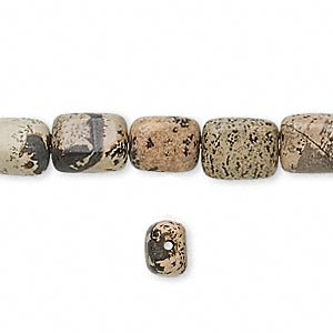 bead, landscape stone (natural), 10x8mm flat pillow, b grade, mohs hardness 3-1/2 to 4. sold per 16-inch strand.