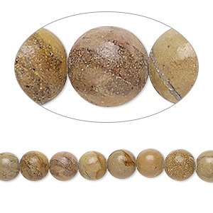 bead, landscape stone (natural), 6mm round, b- grade, mohs hardness 3-1/2 to 4. sold per 15-inch strand.