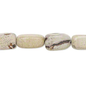 bead, landscape stone (natural), small to medium tumbled nugget, mohs hardness 3-1/2 to 4. sold per 15-inch strand.