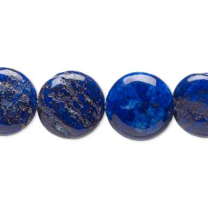 bead, lapis lazuli (dyed), 14mm puffed flat round, d- grade, mohs hardness 5 to 6. sold per 15-inch strand.