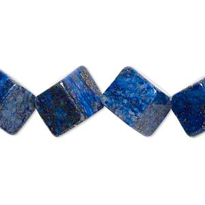 bead, lapis lazuli (dyed), 14x14mm-15x15mm diagonally drilled cube, c- grade, mohs hardness 5 to 6. sold per 15-inch strand.
