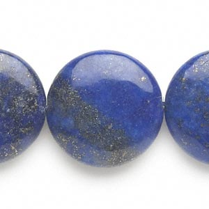 bead, lapis lazuli (dyed), 24-25mm puffed flat round, c grade, mohs hardness 5 to 6. sold per 15-inch strand.