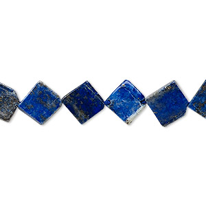 bead, lapis lazuli (natural), 10x10mm-12x12mm hand-cut flat diamond, c- grade, mohs hardness 5 to 6. sold per 13-inch strand.