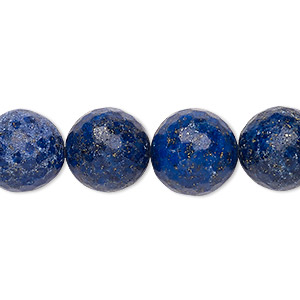 bead, lapis lazuli (natural), 14-15mm faceted round, c+ grade, mohs hardness 5 to 6. sold per 15-inch strand.