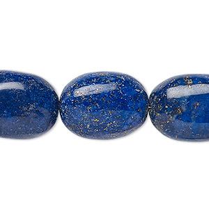 bead, lapis lazuli (natural), 14x11mm-21x15mm hand-cut puffed oval, b- grade, mohs hardness 5 to 6. sold per 8-inch strand.