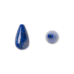 bead, lapis lazuli (natural), 15x8mm half-drilled teardrop, b grade, mohs hardness 5 to 6. sold per pkg of 2.