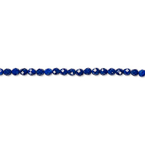 bead, lapis lazuli (natural), 2mm faceted round with 0.4mm hole, a- grade, mohs hardness 5 to 6. sold per 16-inch strand.