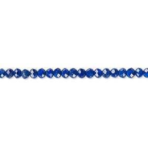 bead, lapis lazuli (natural), 3x2mm faceted rondelle with 0.5-1.5mm hole, a- grade, mohs hardness 3. sold per 16-inch strand.