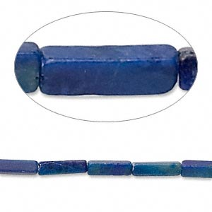 bead, lapis lazuli (natural), 9x2mm-10x3mm square tube, c grade, mohs hardness 5 to 6. sold per 16-inch strand.