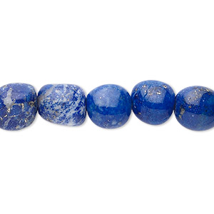 bead, lapis lazuli (natural), small tumbled nugget, mohs hardness 5 to 6. sold per 16-inch strand.
