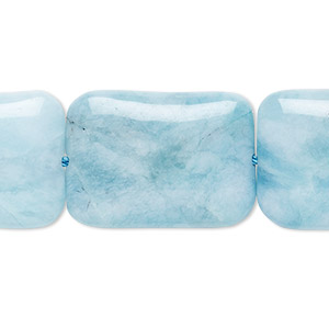 bead, larimar (dyed), aqua blue, 25x18mm hand-cut puffed rectangle, b grade, mohs hardness 7. sold per 8-inch strand.