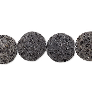 bead, lava rock (natural), 14mm hand-cut round, b grade, mohs hardness 3 to 3-1/2. sold per pkg of 4.