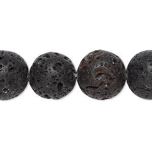 bead, lava rock (waxed), 14mm round, b grade, mohs hardness 3 to 3-1/2. sold per 16-inch strand.