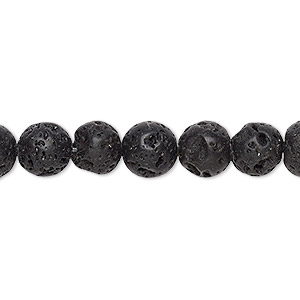 bead, lava rock (waxed), 8mm round, b grade, mohs hardness 3 to 3-1/2. sold per 16-inch strand.