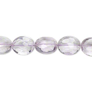 bead, lavender amethyst (natural), 11x9mm hand-cut faceted puffed oval, b+ grade, mohs hardness 7. sold per pkg of 5.