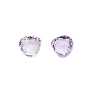 bead, lavender amethyst (natural), light, 12mm hand-cut top-drilled faceted puffed teardrop with 0.4mm-1.4mm hole, a- grade, mohs hardness 7. sold per pkg of 2 beads.
