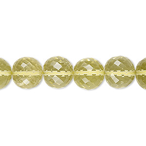 bead, lemon quartz (heated), 10-11mm hand-cut faceted round, b+ grade, mohs hardness 7. sold per 8-inch strand.