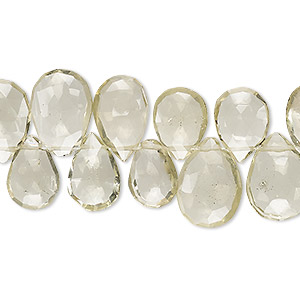 bead, lemon quartz (heated), 11x8mm-15x11mm graduated hand-cut top-drilled faceted puffed teardrop, b+ grade, mohs hardness 7. sold per 5-inch strand.