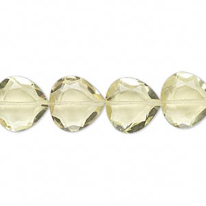 bead, lemon quartz (heated), 12x12mm hand-cut faceted teardrop, b grade, mohs hardness 7. sold per pkg of 10.