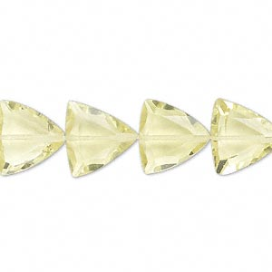 bead, lemon quartz (heated), 12x12x12mm hand-cut faceted triangle, b grade, mohs hardness 7. sold per pkg of 10.