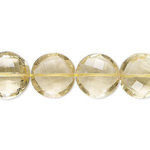 bead, lemon quartz (heated), 14-15mm hand-cut faceted puffed flat round, a- grade, mohs hardness 7. sold per 8-inch strand.