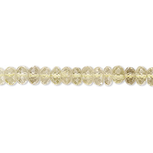bead, lemon quartz (heated), 5x2mm-6x4mm hand-cut faceted rondelle, b+ grade, mohs hardness 7. sold per 14-inch strand.