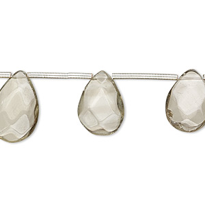 bead, lemon smoky quartz (heated / irradiated), light, 12x7mm-16x11mm hand-cut top-drilled faceted puffed teardrop, c grade, mohs hardness 7. sold per pkg of 10 beads.