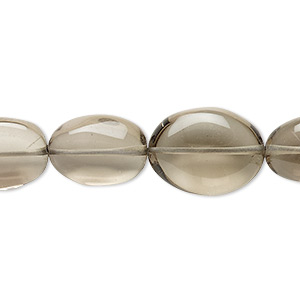 bead, lemon smoky quartz (heated / irradiated), light, 13x10mm-18x13mm hand-cut puffed oval, c grade, mohs hardness 7. sold per 14-inch strand.
