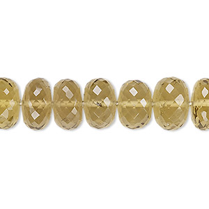 bead, lemon smoky quartz (heated / irradiated), light to medium, 11x6mm-13x9mm hand-cut faceted rondelle, a- grade, mohs hardness 7. sold per 8-inch strand.