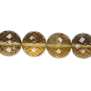 bead, lemon smoky quartz (heated / irradiated), light to medium, 13-14mm hand-cut faceted round, b+ grade, mohs hardness 7. sold per 8-inch strand.
