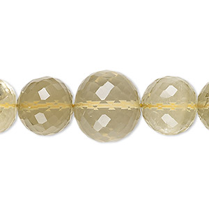 bead, lemon smoky quartz (heated / irradiated), light to medium, 9-16mm graduated hand-cut faceted round, b- grade, mohs hardness 7. sold per 8-inch strand.