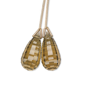 bead, lemon smoky quartz (heated), 20x10mm hand-cut top-drilled checkerboard-faceted briolette, b+ grade, mohs hardness 7. sold per pkg of 2 beads.