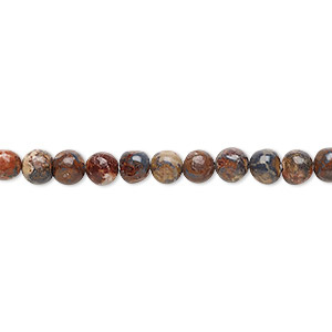 bead, leopardskin jasper (natural), 4mm round, b grade, mohs hardness 6-1/2 to 7. sold per 16-inch strand.