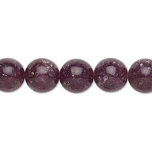 bead, lepidolite (stabilized), 10mm round with 0.5-1.5mm hole, b+ grade, mohs hardness 2-1/2 to 4. sold per 16-inch strand.