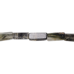 bead, lodolite (natural), 7x4mm-13x5mm hand-cut square tube, c- grade, mohs hardness 7. sold per 13-inch strand.