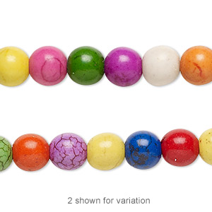 bead, magnesite (dyed / assembled), multicolored, 8mm round with 0.5-1.5mm hole, mohs hardness 3-1/2 to 4. sold per 16-inch strand.