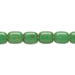 bead, magnesite (dyed / stabilized), apple green, 10x8mm puffed rectangle, c grade, mohs hardness 3-1/2 to 4. sold per 15-inch strand.