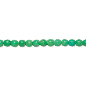 bead, magnesite (dyed / stabilized), apple green, 4mm round, c grade, mohs hardness 3-1/2 to 4. sold per 15-inch strand.
