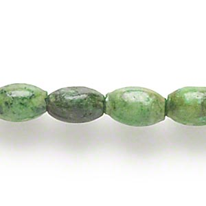 bead, magnesite (dyed / stabilized), apple green, 6x4mm-7x4mm oval, c grade, mohs hardness 3-1/2 to 4. sold per 15-inch strand.