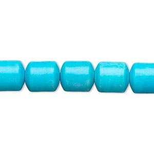bead, magnesite (dyed / stabilized), blue, 10x9mm drum, b- grade, mohs hardness 3-1/2 to 4. sold per 15-inch strand.