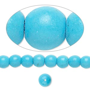 bead, magnesite (dyed / stabilized), blue, 6mm round, b grade, mohs hardness 3-1/2 to 4. sold per 16-inch strand.