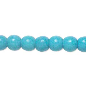 bead, magnesite (dyed / stabilized), blue, 7-8mm round, c grade, mohs hardness 3-1/2 to 4. sold per 15-inch strand.