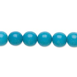bead, magnesite (dyed / stabilized), blue, 8-9mm round, b- grade, mohs hardness 3-1/2 to 4. sold per 15-inch strand.