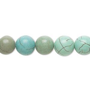 bead, magnesite (dyed / stabilized), blue and green, 9-10mm round, d grade, mohs hardness 3-1/2 to 4. sold per 15-inch strand.