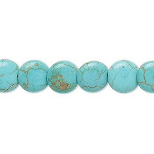 bead, magnesite (dyed / stabilized), blue-green, 10mm lentil, c grade, mohs hardness 3-1/2 to 4. sold per 15-inch strand.