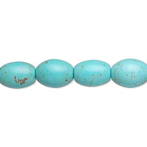 bead, magnesite (dyed / stabilized), blue-green, 11x8mm-12x10mm oval, c- grade, mohs hardness 3-1/2 to 4. sold per 16-inch strand.