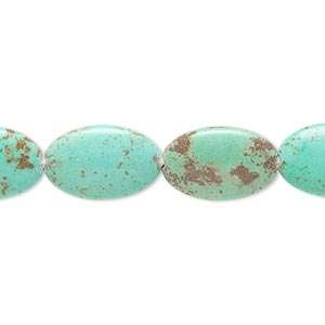 bead, magnesite (dyed / stabilized), blue-green, 15x10mm-16x10mm puffed oval, b- grade, mohs hardness 3-1/2 to 4. sold per 15-inch strand.