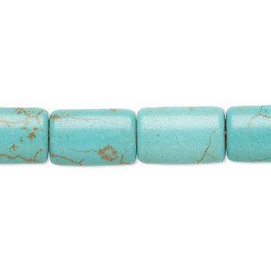 bead, magnesite (dyed / stabilized), blue-green, 15x10mm puffed rectangle, c grade, mohs hardness 3-1/2 to 4. sold per 15-inch strand.