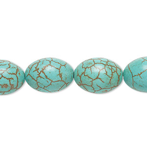 bead, magnesite (dyed / stabilized), blue-green, 16x12mm oval, c grade, mohs hardness 3-1/2 to 4. sold per 15-inch strand.