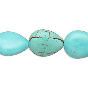 bead, magnesite (dyed / stabilized), blue-green, 17x13mm-18x14mm puffed teardrop, c grade, mohs hardness 3-1/2 to 4. sold per 15-inch strand.